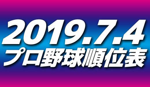 プロ野球順位表と試合結果2019.7.4