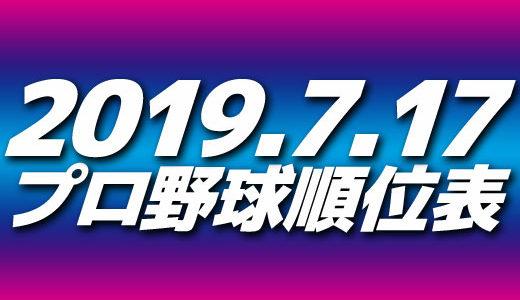 プロ野球試合結果&順位表2019.7.17