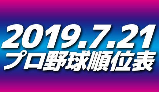 プロ野球試合結果&順位表2019.7.21
