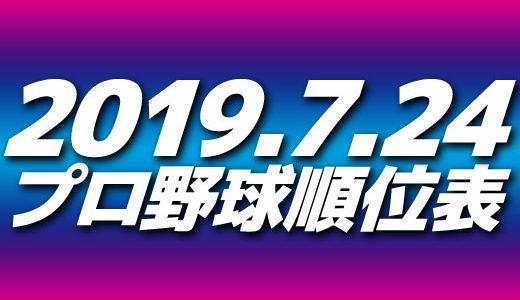 プロ野球試合結果&順位表2019.7.24