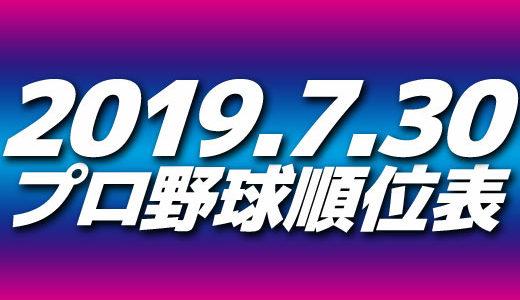プロ野球試合結果&順位表2019.7.30