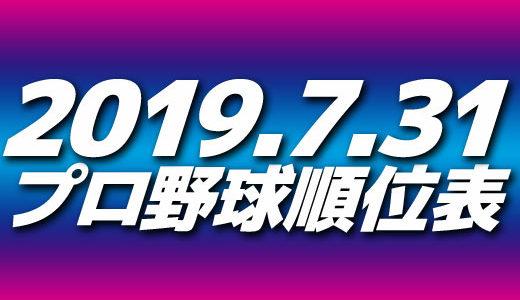 プロ野球試合結果&順位表2019.7.31
