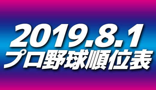 プロ野球試合結果&順位表2019.8.1