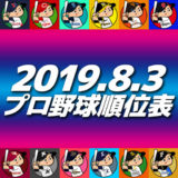 プロ野球試合結果&順位表2019.8.3