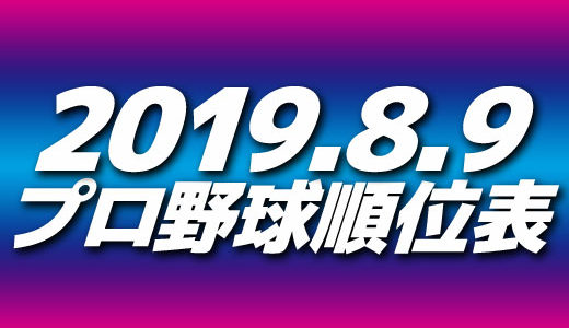 プロ野球試合結果&順位表2019.8.9