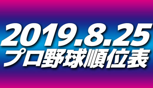 プロ野球試合結果&順位表2019.8.25