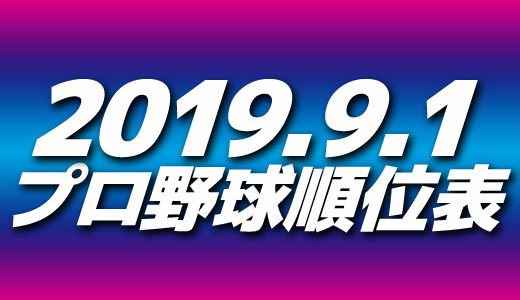 プロ野球試合結果&順位表2019.9.1