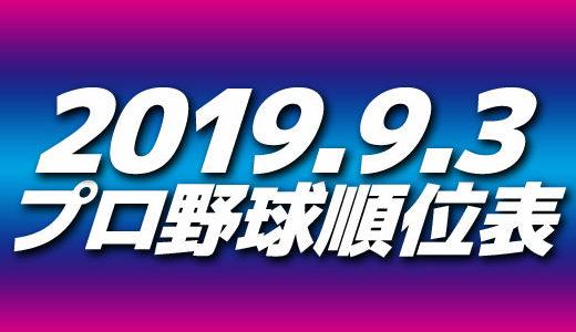 プロ野球試合結果&順位表2019.9.3