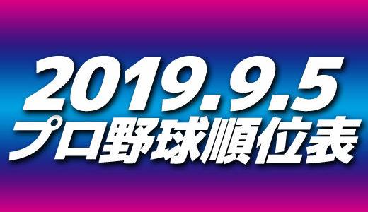 プロ野球試合結果&順位表2019.9.5