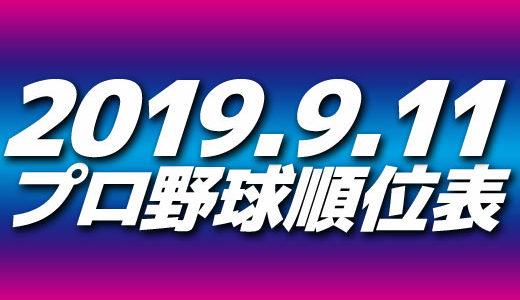 プロ野球試合結果&順位表2019.9.11