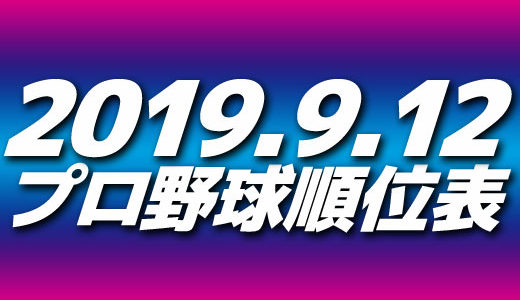 プロ野球試合結果&順位表2019.9.12