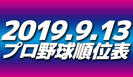プロ野球試合結果&順位表2019.9.13
