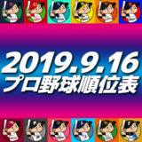 プロ野球試合結果&順位表2019.9.16