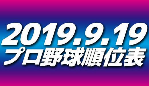 プロ野球試合結果&順位表2019.9.19