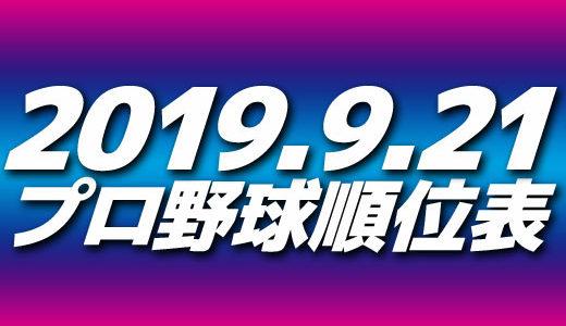 プロ野球試合結果&順位表2019.9.21