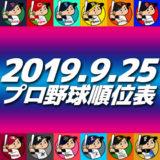 プロ野球試合結果&順位表2019.9.25