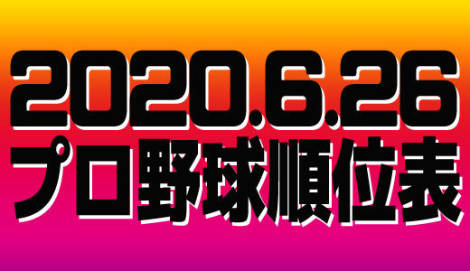 プロ野球試合結果&順位表2020.6.26