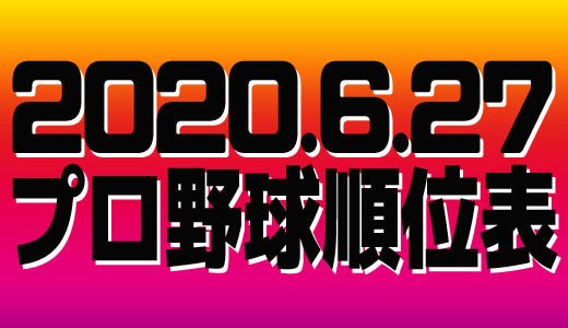 プロ野球試合結果&順位表2020.6.27