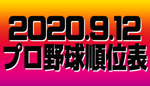 プロ野球試合結果&順位表2020.9.12