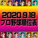 プロ野球試合結果&順位表2020.9.18