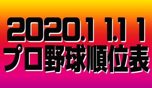 プロ野球試合結果&順位表2020.11.11